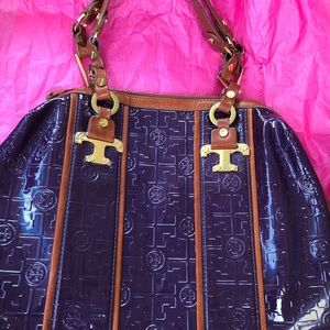 Purple Leather Tory Burch Tote